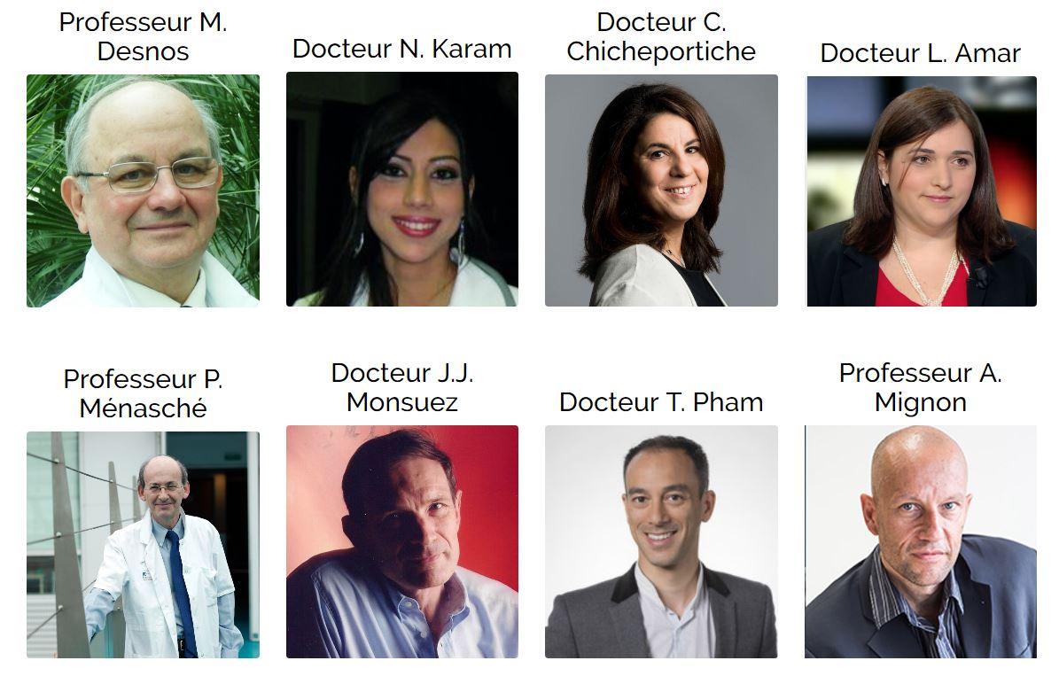 Professeur M. Desnos, Docteur N. Karam, Docteur C. Chicheportiche, Docteur L. Amar, Professeur P. Ménasché, Docteur J.J. Monsuez, Docteur T. Pham, Professeur A. Mignon