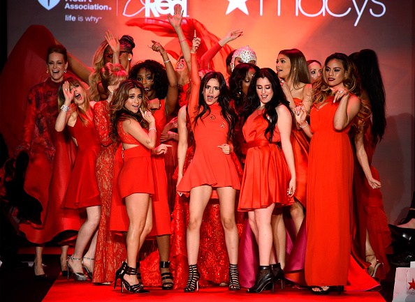 NEW YORK, NY - FEBRUARY 12: Celebrity models pose on the runway at the Go Red For Women Red Dress Collection 2015 presented by Macy's fashion show during Mercedes-Benz Fashion Week Fall 2015 at The Theatre at Lincoln Center on February 12, 2015 in New York City. (Photo by Frazer Harrison/Getty Images for Go Red)